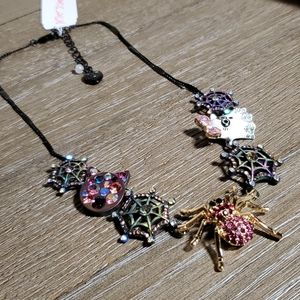 """Betsey Johnson """"Boo to You"""" Spider & Web Necklace"""